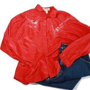 Vintage Jennifer Eden Red Western Button Down